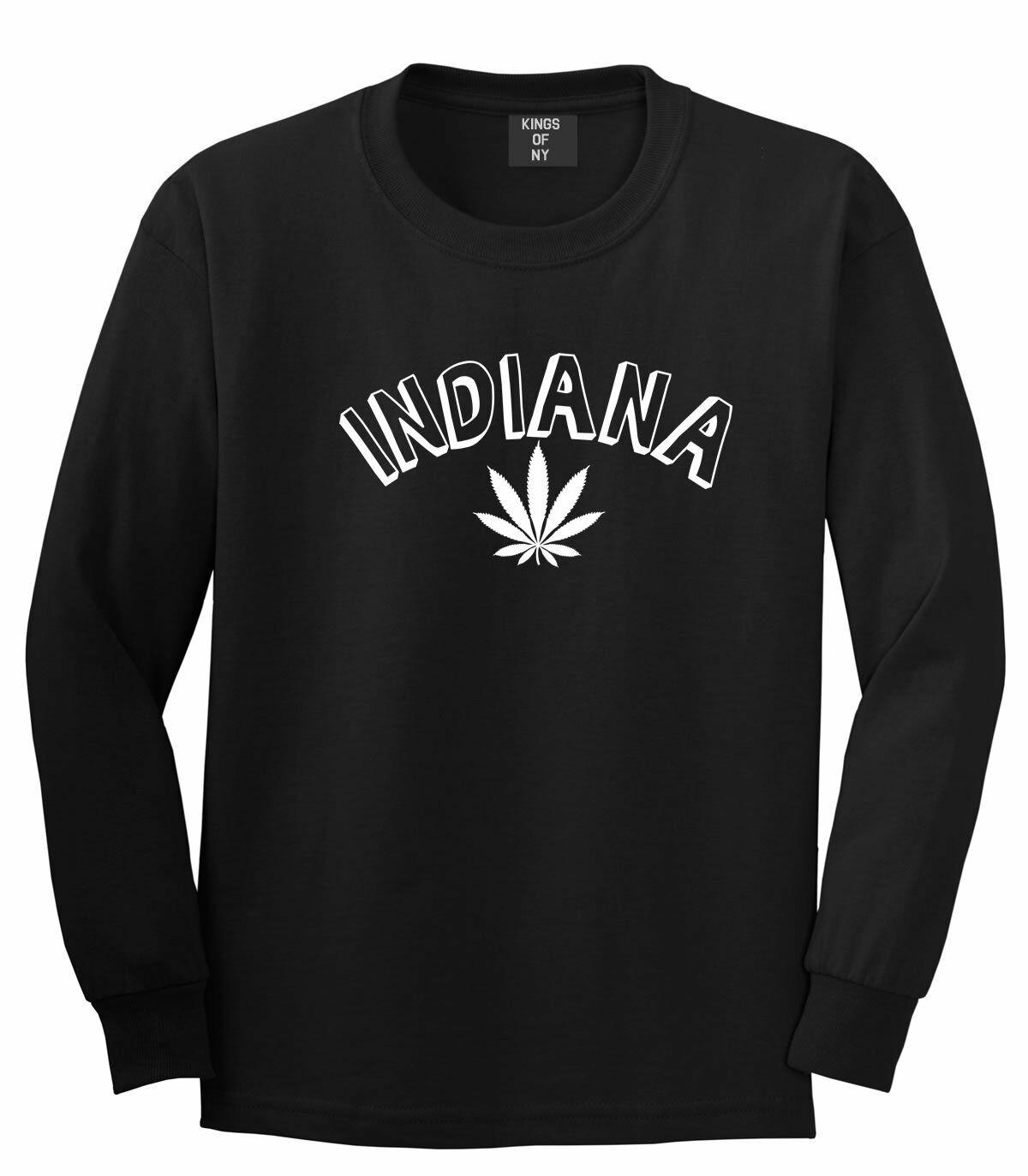 Marijuana Weed Indiana USA State IN Long Sleeve T-Shirt 1