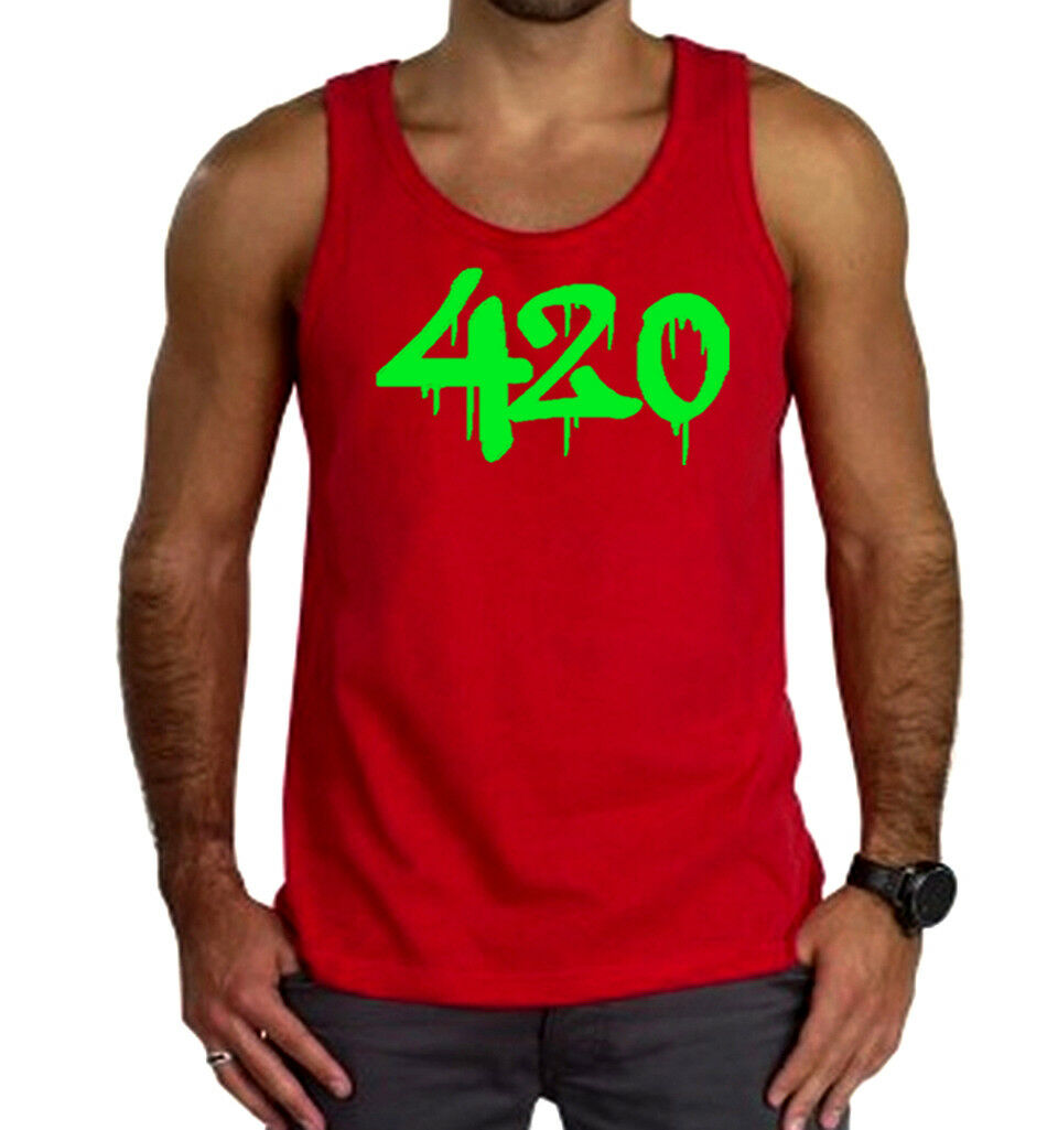 Men's Green Dripping 420 Red Tank Top Weed Blunt Marijuana Cannabis High V449 1