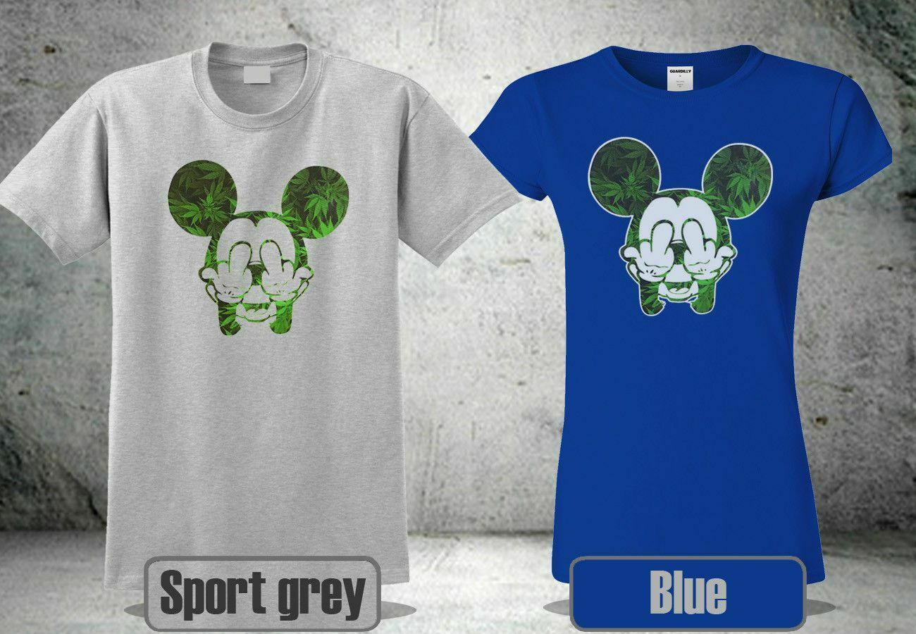MICKEY WEED MIDDLE FINGER 420 MARI BLUE&SPORT GREY T-SHIRT USA SIZE S-3XL JR1 1