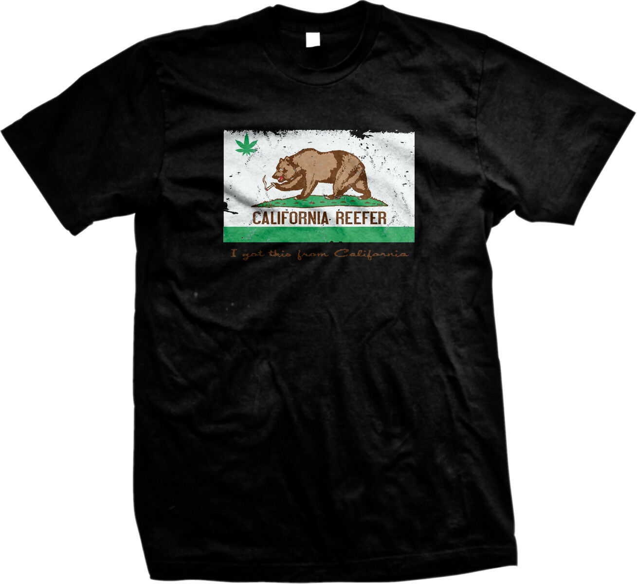 California Reefer Grizzly Bear Weed Pot Leaf Toke 420 Ganja Smoke Mens T-shirt 1