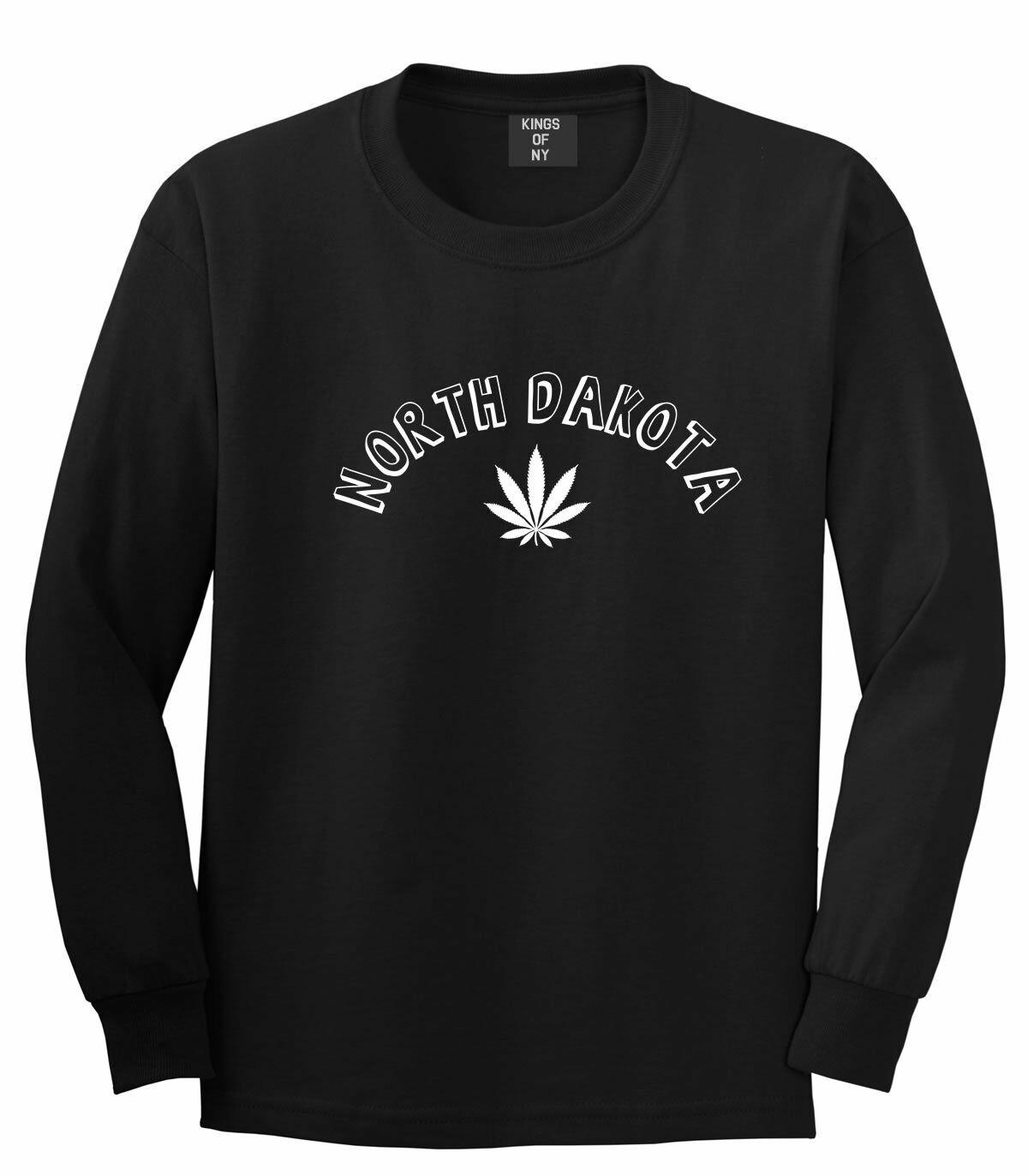 Marijuana Weed North Dakota USA State ND Long Sleeve T-Shirt 1