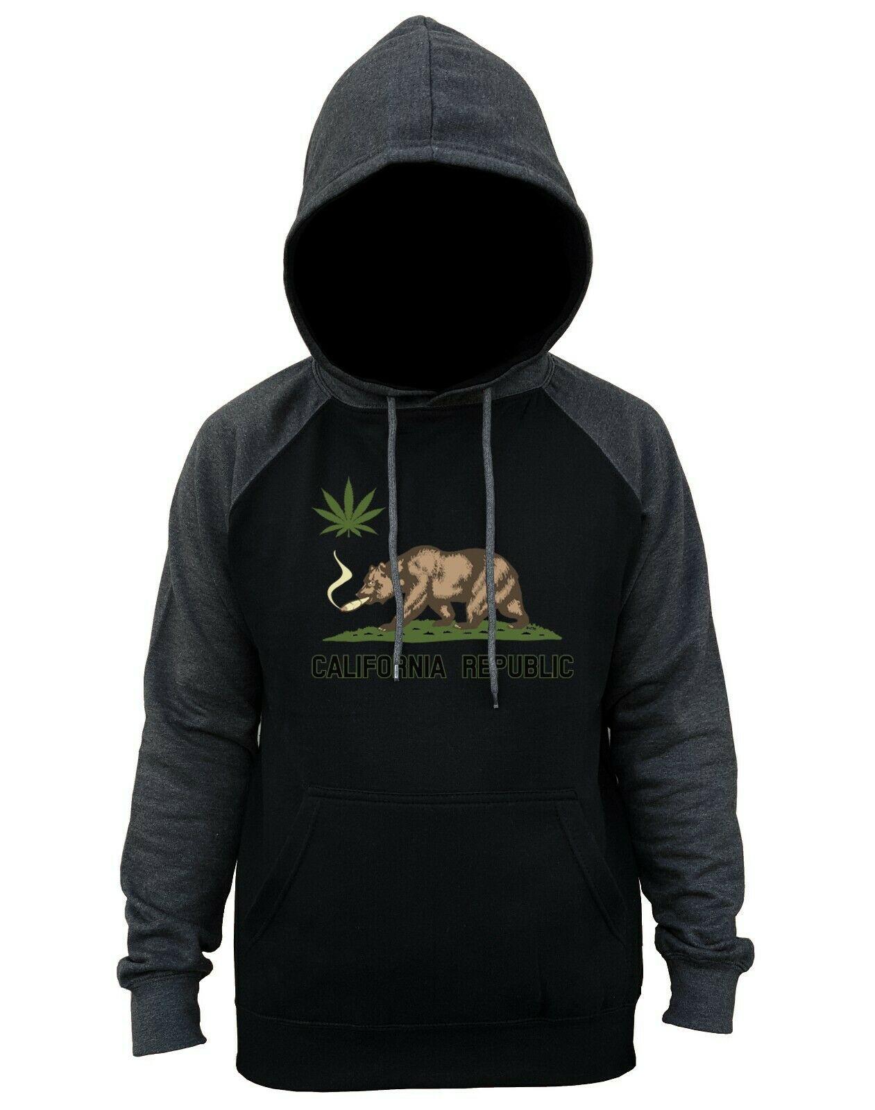 Men's California Pot Bear Charcoal Raglan Hoodie Weed High Blunt Kush Marijuana 1