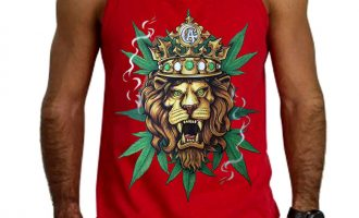Men's King Of Weed Lion Red Tank Top Rasta Jamaica Kush Blunt Marijuana Beast 6