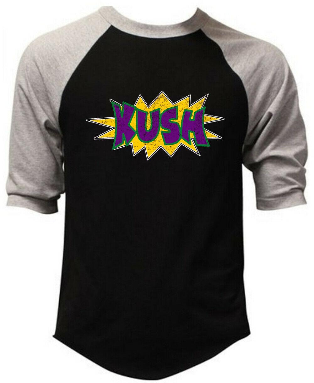 Men's Comic Kush KT T27 Black Baseball Raglan T Shirt Weed high Blunt Marijuana 1