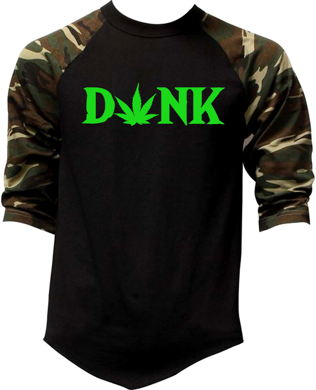 New Men's Dank Weed Leaf Camo Baseball Raglan T Shirt Kush 420 Blunt Cali V359 1