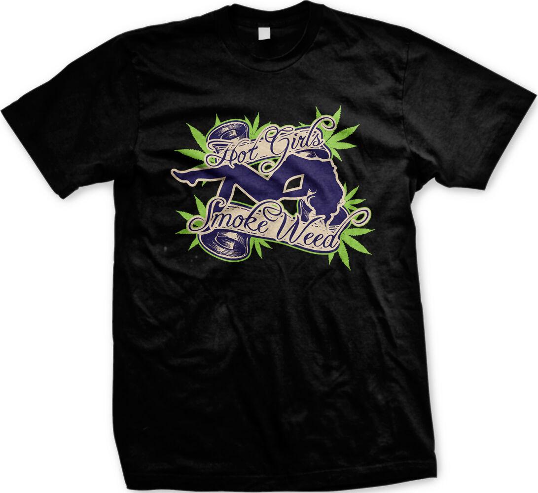 Hot Girls Smoke Weed - Bong Pot MaryJane Weed Funny Mens T-shirt 1