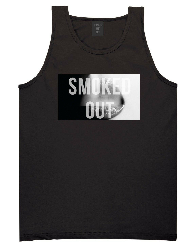 KINGS OF NY SMOKED OUT TANK TOP T SHIRT LIPS SMOKE WEED POTHEAD DRUGS MARIJUANA 1