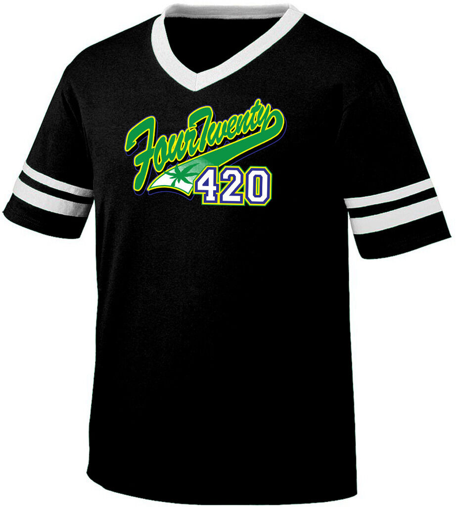 Four Twenty 420 Stoner High Weed Baked Baseball Script Retro Ringer T-shirt 1