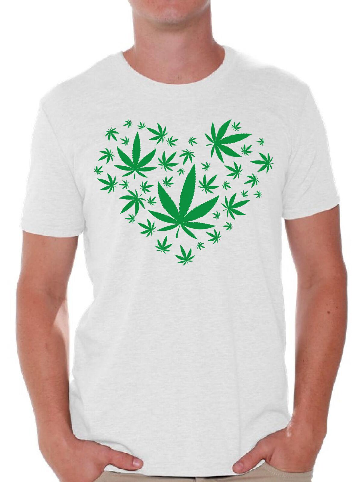 I Love Marijuana Mens T Shirt Weed Leaf 420 Shirt Cannabis Tee for Men 1