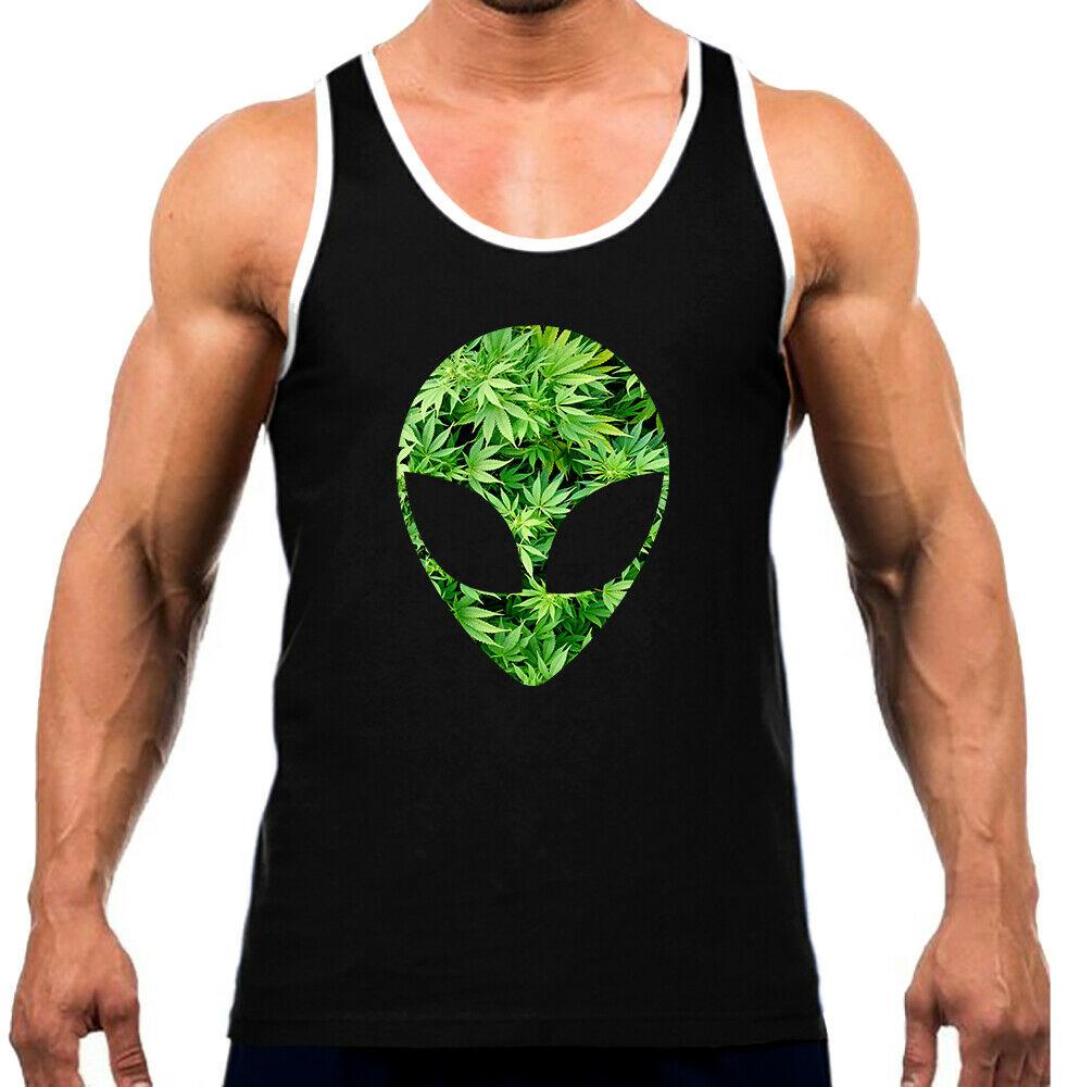 Men's Weed Leaf Alien Head KT B1216 Black Tank Top WT High Blunt Kush Space 420 1