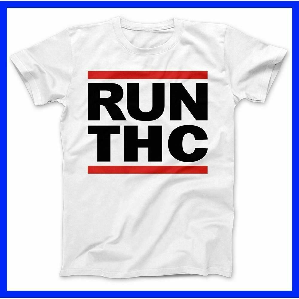 NEW RUN THC CANNABIS WEED T-SHIRT 100% PREMIUM COTTON JOINT MARIJUANA 1