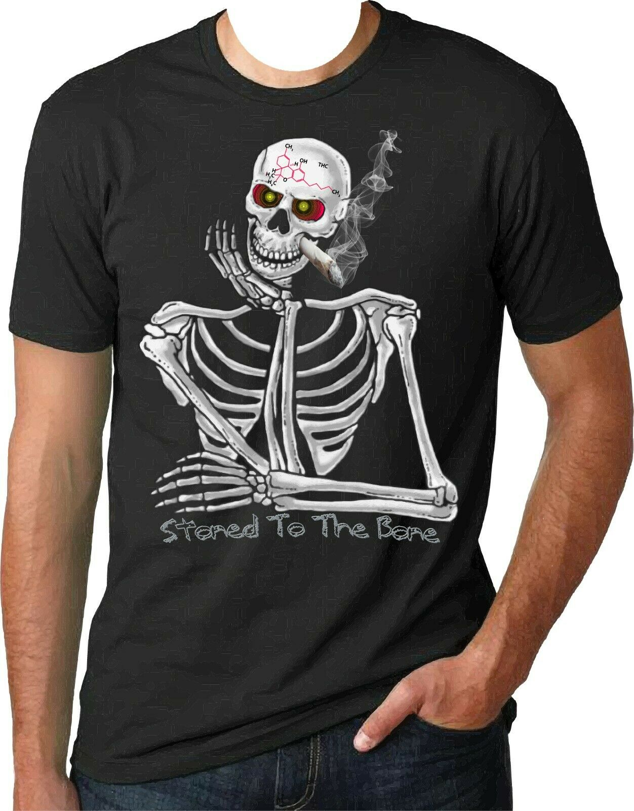 "Printed ""Skeleton High on Weed"" T-Shirt 100% Cotton 1"