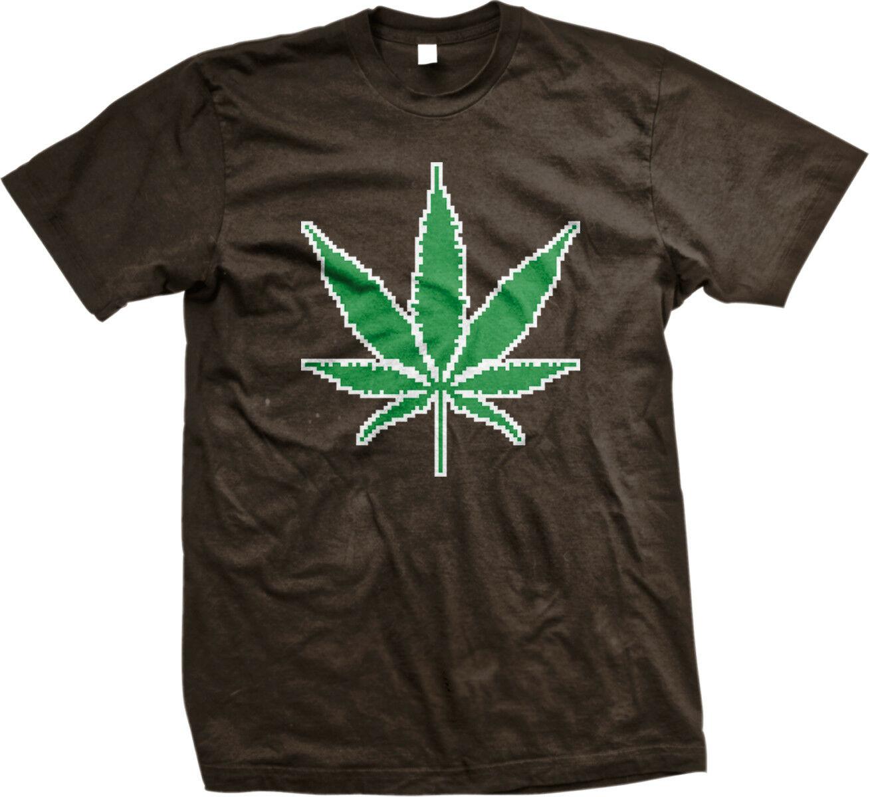 Marijuana Leaf Pixels Pot Weed Smoke High Get Vape Computer Bong Men's T-Shirt 1