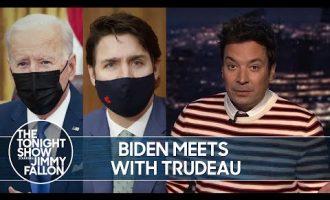 Biden Meets with Trudeau, New Jersey Legalizes Marijuana   The Tonight Show 3